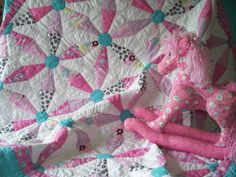 Traditional Baby Toddler or Lap top Quilt  - Hand Pieced and Hand Quilted  - Training Wheels Design - Pink and Aqua Quilt on Etsy, $450.00