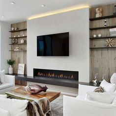Living Room Decor Fireplace, Home Fireplace, Fireplace Design, Tv With Fireplace, Feature Wall Living Room, Living Room Wall Units, Home Living Room, Home Room Design, Interior Design Living Room