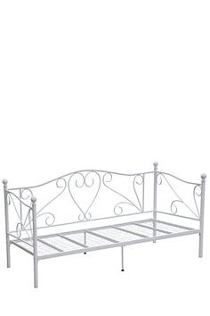 This metal day bed has a charming romantic style. Made with powder coated metal, the feminine inspired design will be a focal point