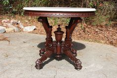 ~ Monumental Large High Style Walnut Victorian Neo Grec Marble Top Center Table ~ ebay.com