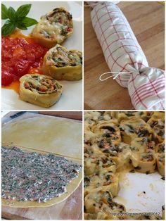 grain de sel - salzkorn: Rotolo ripieno - Pastarolle mit Spinat, Tomate und Ziegenkäse