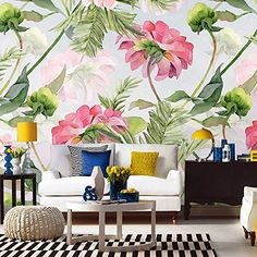 Flamingos Zebra Animals Tropical Plants Leaves Flowers Floral Wallpaper Restaurant Living Room Cafe Office Bedroom Mural Home Wall Art Materials; Peel and Stick Vinyl or Non-Woven Embossed removable Wallpaper FEATURES: Wallpaper; Kids Room Murals, 3d Wall Murals, Bedroom Murals, Wallpaper Decor, Flower Wallpaper, Wallpaper Roll, Wallpaper Wallpapers, Animal Wallpaper, Home Decor Wall Art