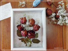 Dried Rose Shadow Box - simple but beautiful way to display dried flowers. wand, Preserve Your Memories with a Dried Rose Shadow Box Display Bouquet Shadow Box, Flower Shadow Box, Diy Shadow Box, Rose Crafts, Flower Crafts, Diy And Crafts, Pressed Roses, Pressed Flower Art, Rose Frame