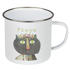 Personalised Enamel Cat Mug is a perfect gift for children. Personalised with your name and featuring a delightful cat design. Personalised Mugs, Personalized Gifts, Cat Mug, Cat Design, Gifts For Kids, Enamel, Children, Tableware, Unique