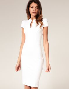 Asos Collection Asos Ponti Pencil Dress with Zip Detail in White | Lyst
