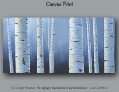 Navy blue Birch tree painting Canvas print set Multi panel 3