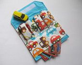 The ORIGINAL Car Wallet with POCKET (holds 2) ... Kid Cars ... available in other fabrics
