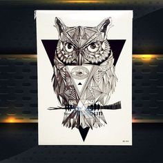Hot Sale Trendy Waterproof Wise Owl Tattoo Sleeve For Women Men Body Art Sticker Arm Leg Owl Decals Temporary Tattoo Stickers