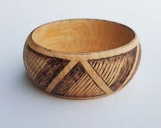Wood burned bangle bracelet alder geometric boho by SorrisoDesign