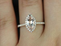 Sasha 14kt Rose Gold Marquise Morganite and Diamond by RosadosBox