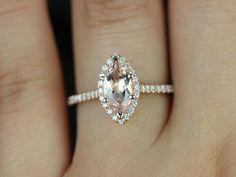 Sasha 14kt Rose Gold Marquise Morganite and Diamond by RosadosBox