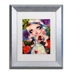 "Trademark Art 'The Talking Flowers' Framed Painting Print Mat Color: White, Size: 14"" H x 11"" W x 0.5"" D"