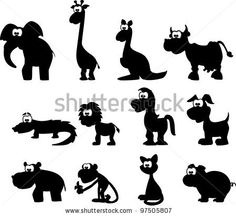 stock vector : Cartoon silhouettes of animals