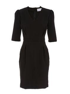Pencil dress with box pleat detail Black