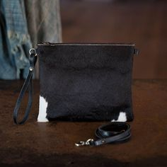 Modernist Wallet LG | Black + White Hair Hide 3