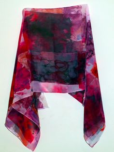 chiffon heat transfer scarf using suminagashi and mono printing