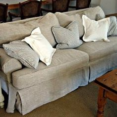 #tbt #classic #slipcover in our Lido Flax #linen fabric! Slouchy #ticking pillows too for a #beachhouse #mywork #interiordesign #nofilterneeded Slipcoverfabrics.com