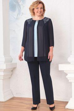 Костюм Orhideya Lux 767 темно-синий Work Wardrobe, Office Fashion, Summer Collection, Tunics, Blouses, Normcore, Plus Size, Office Style, Tops