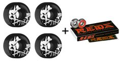 BONES SKATEBOARD WHEELS 52mm BLACK With REDS BEARINGS | eBay