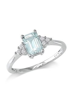 14K White Gold Rectangular Diamond Accented Aquamarine Ring