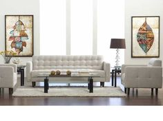 A long time customer favorite is now back in stock in sand or dark grey! Nice modern lines at a fabulous price! Style At Home, New Living Room, Living Spaces, Mid Century Decor, Fabric Sofa, Scandinavian Design, Home Buying, Contemporary Furniture, Sofas
