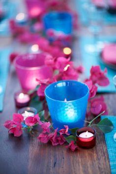 Blue and Pink Wedding Tablescape. Creative wedding ideas on a budget - Rehearsal Dinner Centerpieces, Rehearsal Dinners, Wedding Centerpieces, Wedding Table, Candle Centerpieces, Centerpiece Ideas, Wedding Reception, Trendy Wedding, Summer Wedding