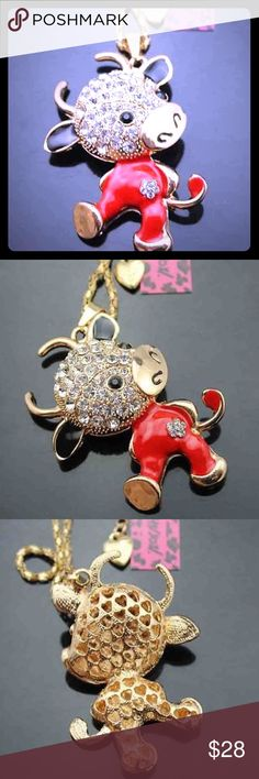 NWT BETSEY JOHNSON RED MOO COW PENDANT NECKLACE BETSEY JOHNSON SWAROVSKI CRYSTAL & ENAMEL MOO COW PENDANT NECKLACE: Alloy (Mixed Metals), Genuine Swarovski Crystals & Enamel. Multicolored. Necklace Length: 28 Inches + 3 Inch Extension. New With Tags. Offers Always Welcomed. Cheaper Buying Options Available, Just Ask.                                      🖤🖤🖤🌸 Offers Welcomed  🌸🖤🖤🖤🖤🖤💗Bundle Discount Available💗🖤🖤🖤🖤🖤💝 Free Gift Included 💝🖤🖤🖤🖤🖤🖤💞Trades Considered…