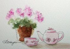 Pink Violets and Teapot Watercolor Painting by RoseAnnHayes