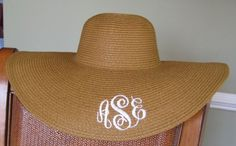 Monogrammed floppy hat. Perfect for the beach