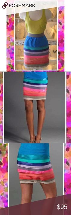"Wink Tiz Silk Tiered Colorblock Skirt *nwt* This silk skirt features unfinished edges at the colorblock crepe and satin tiers. Topstitching at elastic waistband. Lined.  * 18"" long. * Fabrication: Silk crepe/satin. * 100% silk. * Dry clean. * Made in the U.S.A. Wink Skirts Mini"