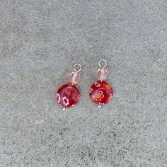 """Doll earring dangle with red painted glass lentil bead and pink-peach faceted glass bead for American Girl and other 18"""" doll by BFFandMEJewelry on Etsy"""