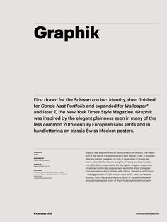 Graphik font by Commercial Type Typography Layout, Typography Letters, Typography Poster, Graphic Design Typography, Branding Design, Lettering, Web Design, Book Design, Layout Design