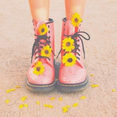 black, boots, bright, colors, daisies, fashion, filter, floral, flowers, girl, girly, hipster, indie, pink, road, summer, teen, tropical, tumblr, yellow