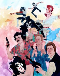 """kevinwada: """" Father Figures Commissioned birthday present compiling the giftees pop culture father figures. Very fun, sweet, nostalgic idea. If you can recognize them all I get a treat. Find the answers here. Comic Book Artists, Comic Artist, Comic Books, Cultura Pop, David Bowie, Graphic Design Illustration, Illustration Art, Pop Culture References, Pop Culture Art"""