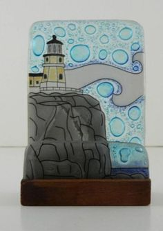 Split Rock Lighthouse Fused Art Glass Desktop Business Card Holder Ecuador | eBay