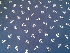 Soft Cotton Jersey Knitted Fabric Anchor Nautical Print  150cm Wide New by Dcf