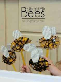 7 Insect Crafts for Kids to Make: Yarn Wrapped Bees~ these would be really fun for our insect reports!