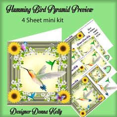 Humming Bird All Occasion Pyramid Card by Donna Kelly A Delicate feminine Pyramid card, approx 7x7 with decoupage, a large tag and 6 sentiment tags, sentiments include Thinking of You, For Someone Special, Happy Birthday, Congratulations on Your New Home, & Happy Mother's Day