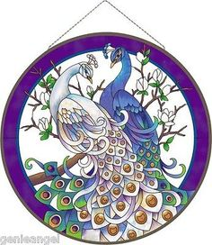 "WHITE & BLUE PEACOCKS * MAGNOLIAS 21"" ROUND ART GLASS WINDOW PANEL"