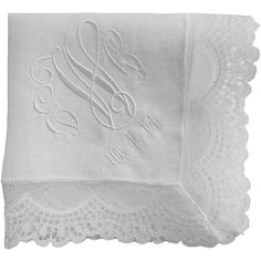 Embroidered Fancy Irish Linen and Lace Hankie Personalized - AND GIFT WRAP