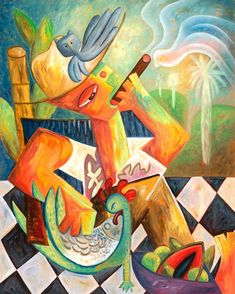 Hillside with Palms Surreal Landscape with Birds Tobacco Leaves Ethnic Cuban Figure Island Motifs Cigar Smoking Painting Cuban Original Art Cigar Art, Equestrian Gifts, Good Cigars, Canvas Signs, Limited Edition Prints, Canvas Art Prints, Surrealism, Art Pieces, Fine Art