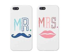"""Cute Couple Phone Case for iPhone 4 4S Cases """"Mr Mrs"""""""