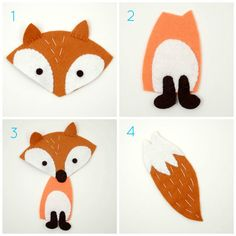 Foxy goodness, for stuffed animal or applique template. Applique Tutorial, Applique Templates, Applique Patterns, Sewing Toys, Baby Sewing, Sewing Crafts, Sewing Projects, Wool Quilts, Baby Quilts