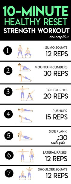 This 10 minute workout will have you building strength and feeling great. Push the reset button on your health and get in shape fast with this full body killer workout you can do anywhere!