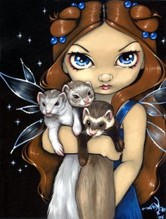 I own this print, reminds me of my original 3; Sanka, Kona, and Dunkin'  Armful of Ferrets - Ferret Art