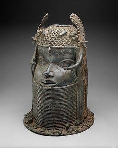 Head of an Oba, 19th century, Nigeria, Court of Benin, Edo peoples, Brass, iron, 45.7 x 29.9 x 30.5 cm