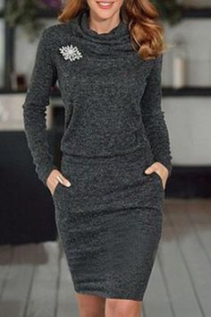 Stylish Cowl Neck Long Sleeve Solid Color Women's Bodycon Dress