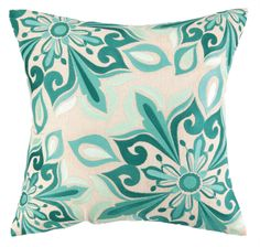 Kate Spain designed embroidered pillow in beautiful turquoise colors