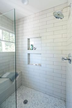Shower Niche, Dual stacked with larger then life subway tiles. By styled with DükLiner shower niche system Shower Niche, Dual stacked with larger then life subway tiles. By styled with DükLiner shower niche system Tile Shower Niche, White Subway Tile Bathroom, Subway Tile Showers, Bathroom Niche, Shower Tile Designs, Small Bathroom, Subway Tiles, Bathtub Shower, White Tile Shower