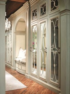 Concealed in Beauty: Habersham Dressing Room Custom Cabinetry . Dressing Room Closet, Dressing Room Design, Dressing Rooms, Dressing Area, Country Hallway, Home Design, Beautiful Closets, Beautiful Mirrors, Closet Designs